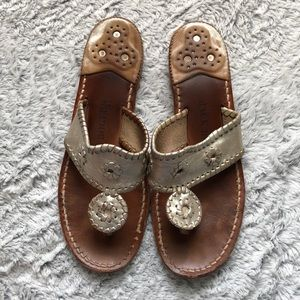 Silver jack Rogers sandals leather size 8 brown